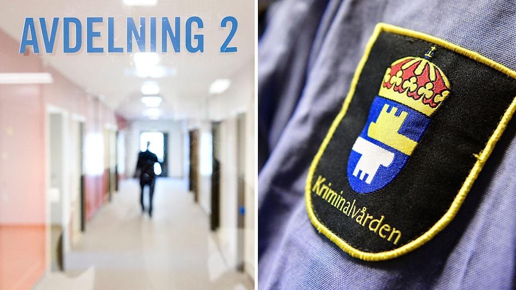 En korridor med stängda dörrar där en man går i mitten. Polisuniform där man ser Kriminalvårdens märke.