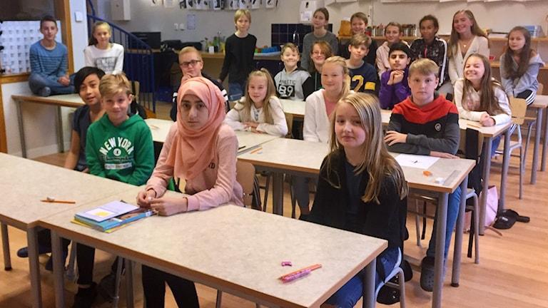 Klass 5c i klassrummet.