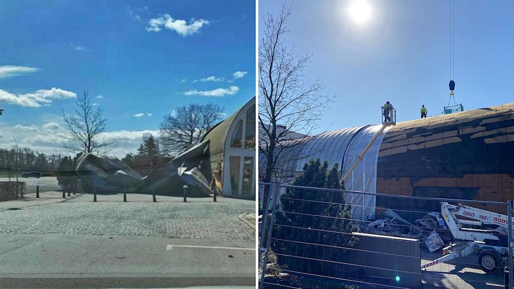 Till vänster ett nedslitet tak från medborgarhuset i Eslöv, till höger reparationer som pågår på taket.