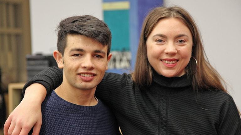 Mahfozullah Ganji och Sanna Asp från ungdomsorganisationen Tamam i Lund. Foto: Karin Genrup/Sveriges Radio