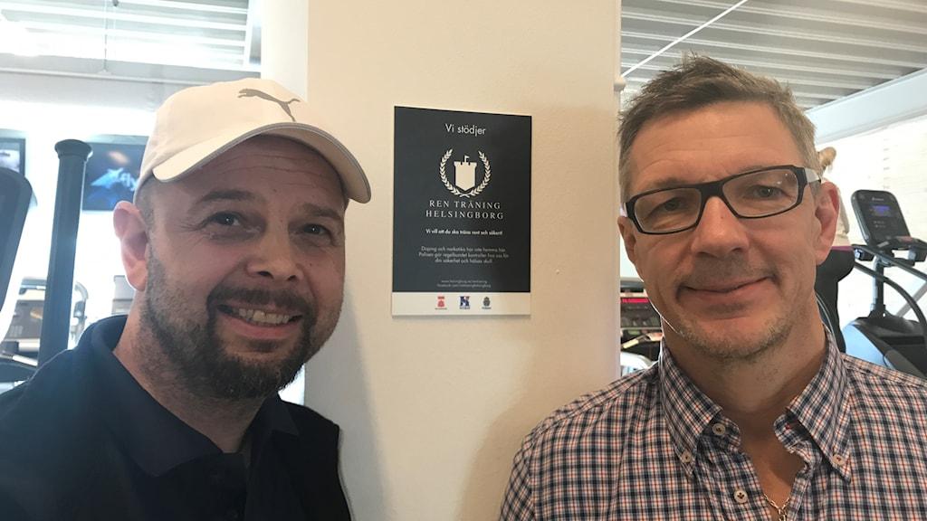 Tor Sverrisson, gymföreståndare på Filborna Arena och Stefan Åberg, projektledare i nätverket Ren träning i Helsingborg.