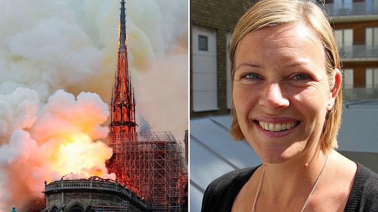 Sveriges Radio-medarbetare Johanna Hellström befinner sig utanför katedralen.