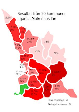 Skånekarta med kommunindelning