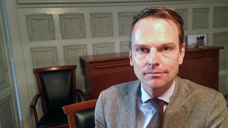 Peter Danielsson, moderat kommunstyrelseordförande i Helsingborg. Foto: Andreas Örwall Lovén/Sveriges Radio.