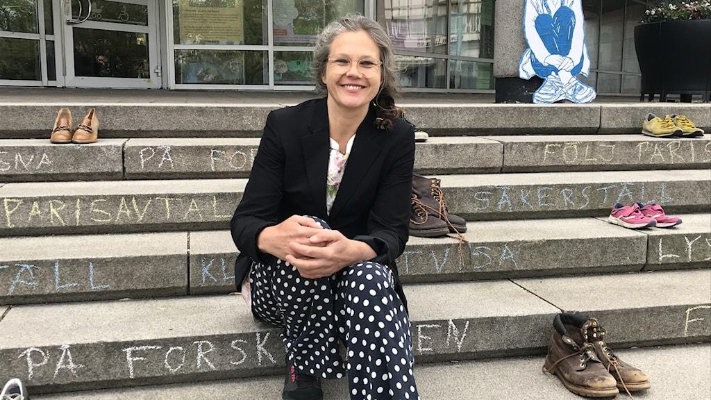 Anna Bokström för klimatorganisationen Friday for Future när skor strejkar för klimatet