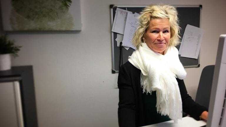 Katarina Klostergard på kontoret