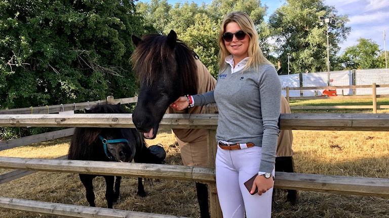 Stephanie Holmén inför kvalet till Grand Prix-tävlingen på Falsterbo Horseshow.