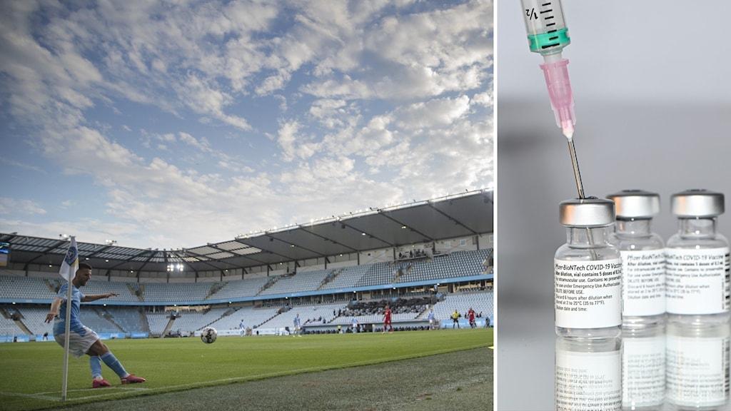 Match på fotbollsstadion och vaccinspruta.