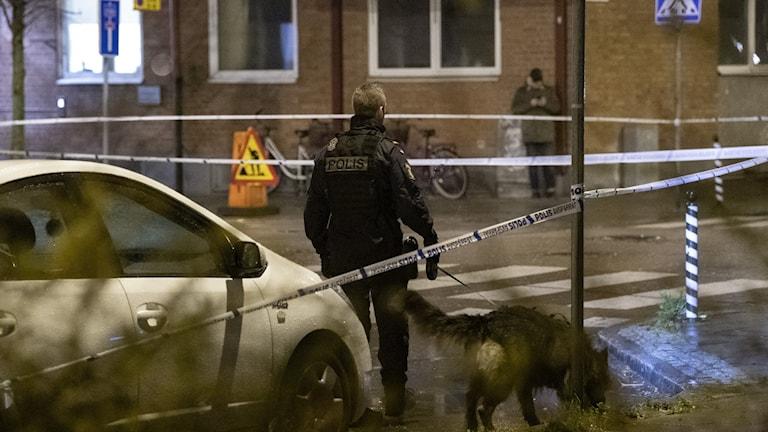 Polis går med sökhund innanför ett avspärrat område