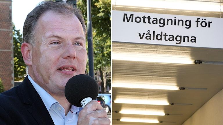 Gilbert Tribo (L) + mottagning för våldtagna Foto: Sveriges Radio och TT