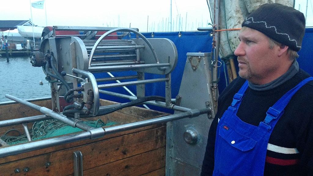 fiskare Kristian Nilsson, ordförande i Malmöhus läns havsfiskeförening. Foto: Andreas Örvall-Lovén/Sveriges Radio.