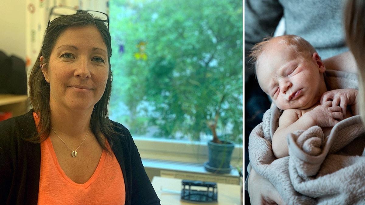 Kvinna på kontor och en nyfödd bebis