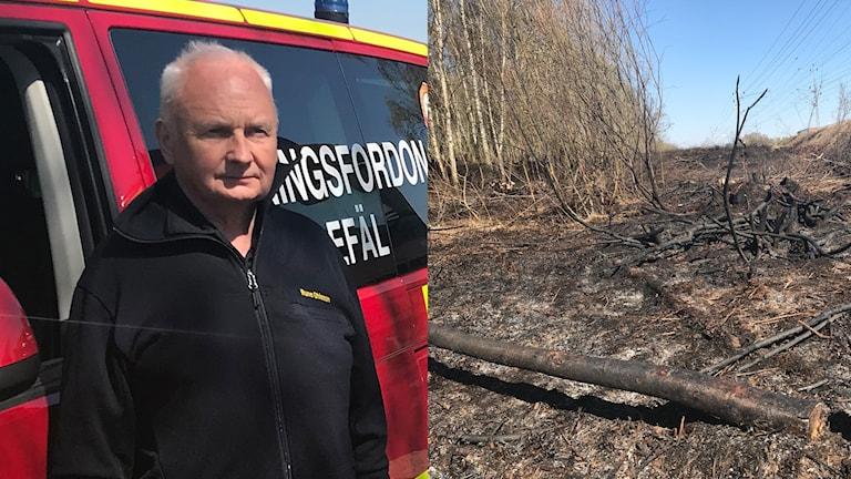 Räddningsledare vid gräsbrand