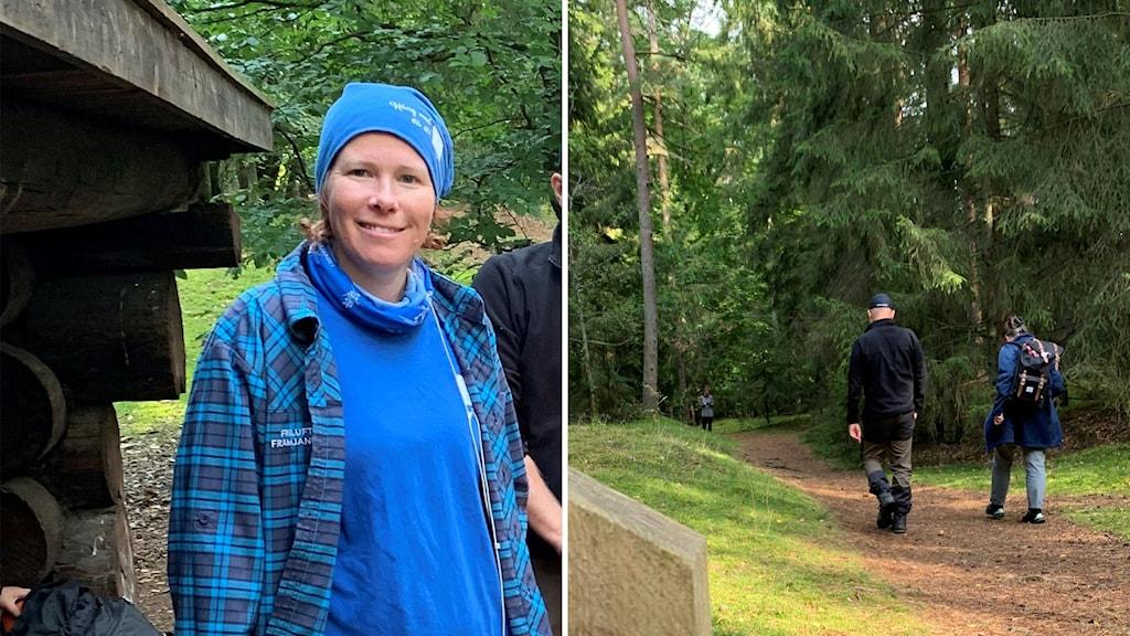 Till vänster Therese Rosenkvist, till höger personer på vandring i skog.