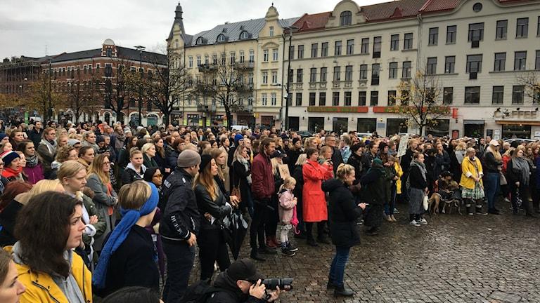 Manifestationen på Möllevångstorget i Malmö.