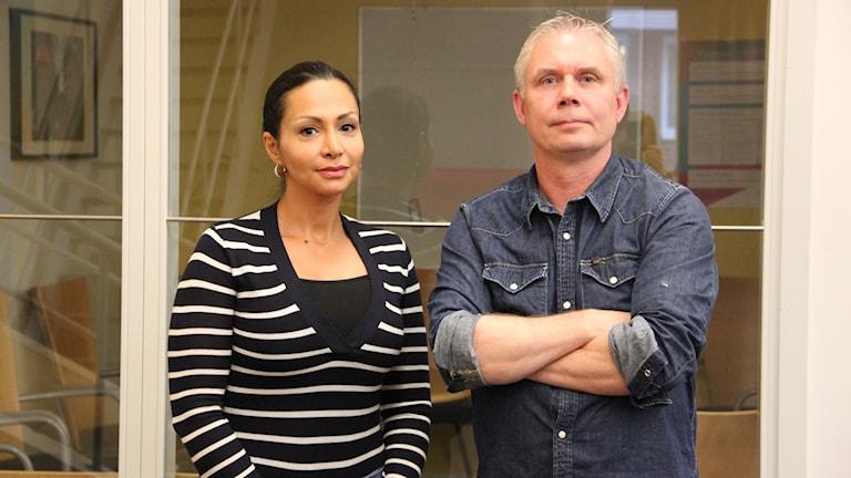 Bahareh Andersson är kvinnofridssamordnare i Hörby kommun och Mikael Wejsfeldt sektionschef på Koncept Karin.