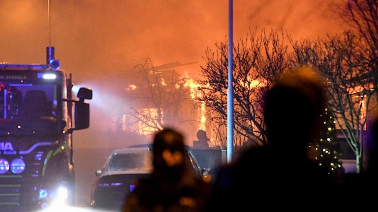 Den brinnande villan i Malmö.