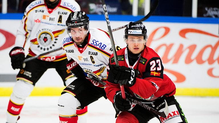 Luleås Niklas Olausson,  Malmö Redhawks Christoffer Forsberg under tisdagens ishockeymatch i SHL mellan Malmö Redhawks och Luleå HF på Malmö Arena.  Foto: Emil Langvad/TT