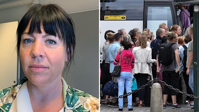En kvinna  som jobbar på Kommunal. Ersättningsbuss i Malmö.