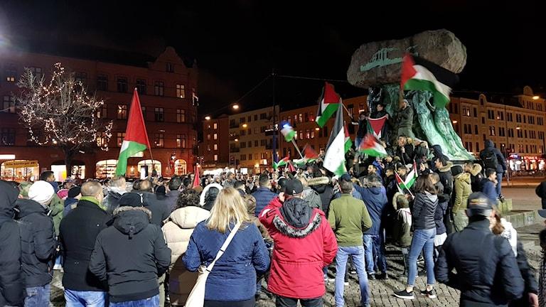 Protesten riktades mot Donald Trumps besked om att erkänna Jerusalem som Israels huvudstad.