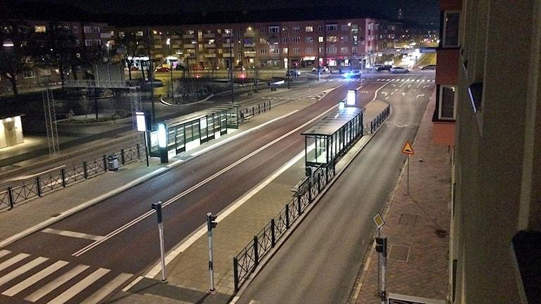 Nobeltorget i Malmö avspärrat.