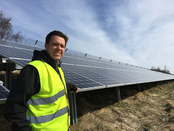 Diedrik Fälth, ledamot i styrelsen i Solar park och energiingenjör på Öresundskraft.