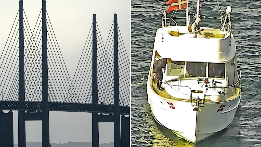 Till vänster Öresundsbron, till höger en båt som kontrollerar drönare som i sin tur inspekterar brons betong.