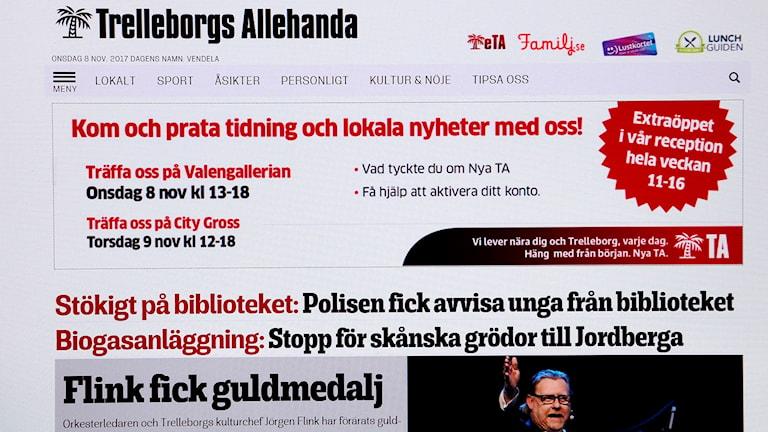 Bild av digital upplaga av Trelleborgs Allehanda.