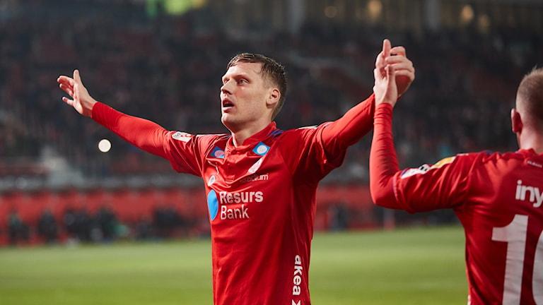 Andri Rúnar Bjarnason jubel under lördagens fotbollsmatch i superettan mellan Helsingborgs IF och Varbergs BoIS FC på Olympia.