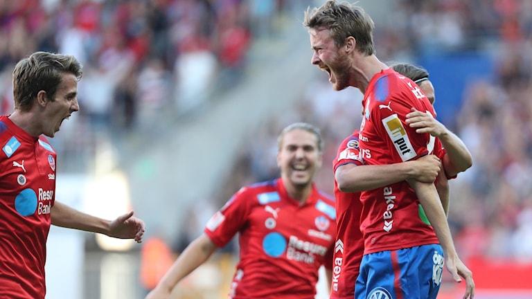 Helsingborgs Rasmus Jönsson jublar efter 1-0 i torsdagens match i Superettan mellan Helsingborgs IF och Norrby IF på Olympia .