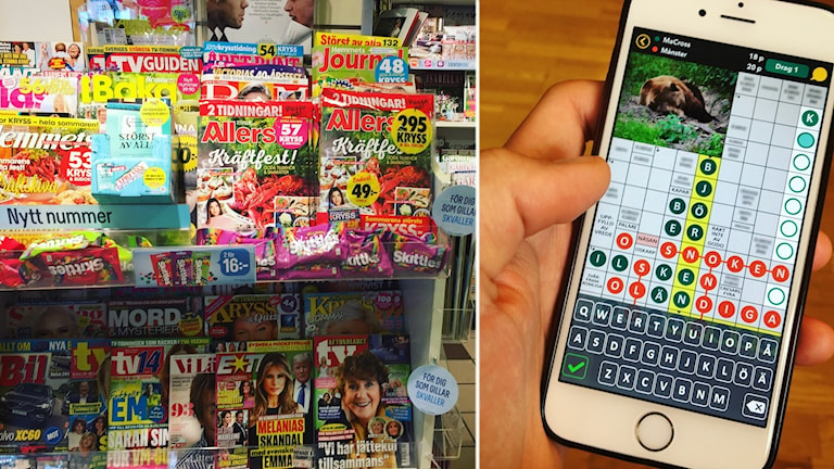 En hylla med magasin jämte en mobil med kryssapp