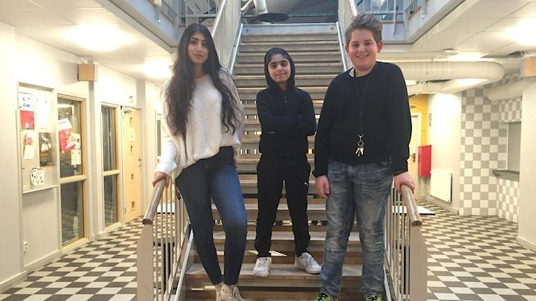 Abbas Asem, Albin Fljugaj och Sarah Raed Mahdy. Foto: Anna Landelius/Sveriges Radio