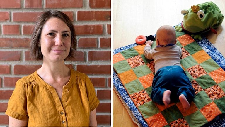 En kvinna som är barnmorska. Ett spädbarn på en filt.