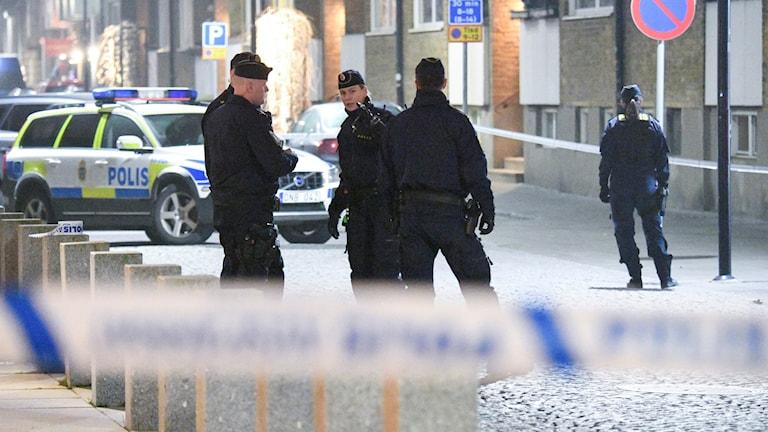 skottlossningen på Östergatan i Landskrona. Foto: Johan Nilsson/TT.