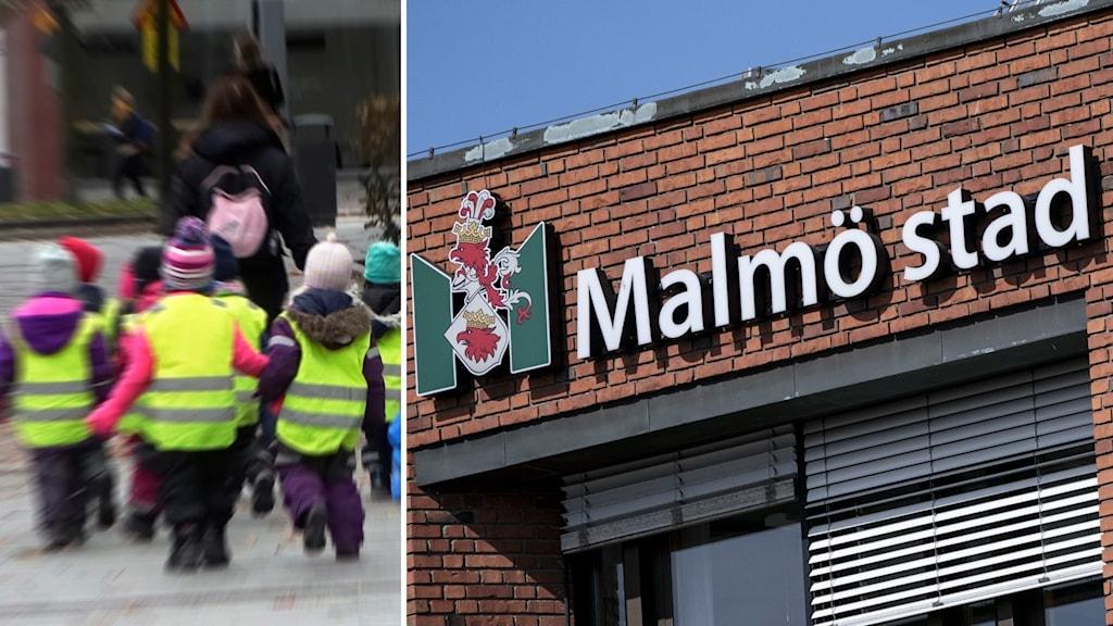 Till vänster dagisbarn, till höger Malmö stads logotyp.