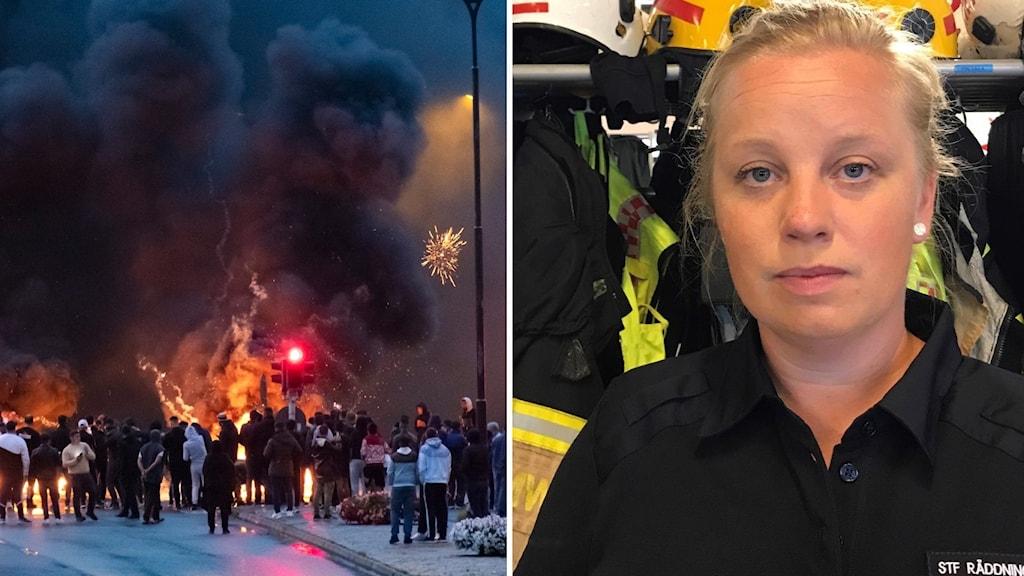 Bild på eld och folkmassa under upploppen i Rosengård. Bild på Ulrika Lindmark från Räddningstjänstens Syd i uniform.