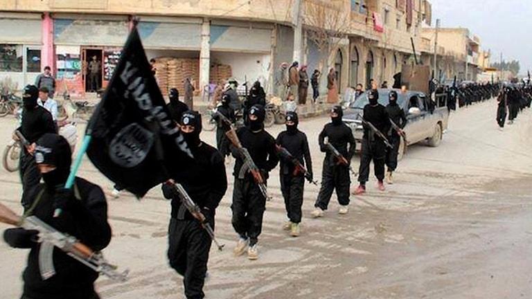 ISkrigare marscherar i Raqqa i Syrien, Foto: TT.