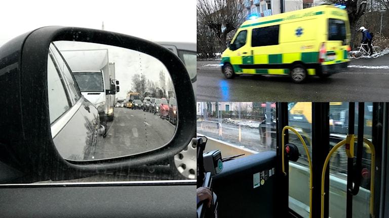 Köer efter en trafikolycka, en ambulans under utryckning och stadsbuss kör förbi grävarbete. Foto: Karin Genrup/Sveriges Radio