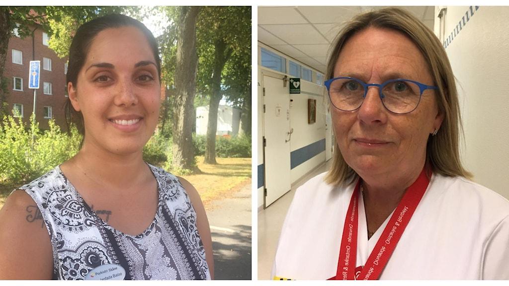 Sahar Janfada Baloo, läkarförbundt östra Skåne och Annika Malmquist, sjukhuschef Ystad lasarett.