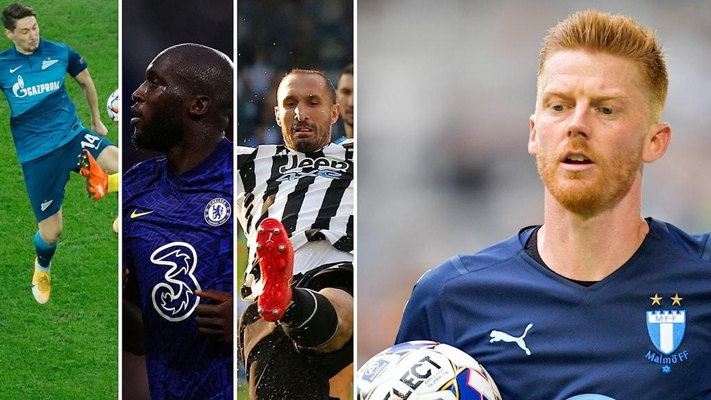 fyra olika fotbollsspelare