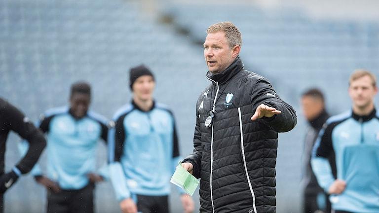 Tränare Magnus Pehrsson under Malmö FF:s träning på Malmö Stadion på torsdagen.