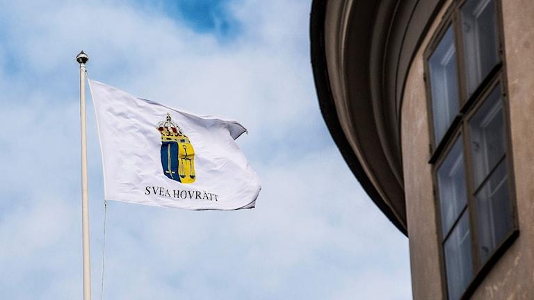 Flagga utanför Svea hovrätt Foto: Tomas Oneborg/TT