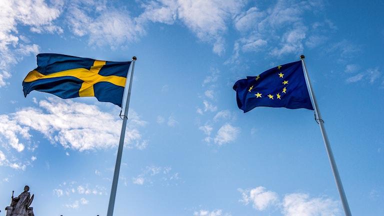 Svensk flagga och EU:s flagga.
