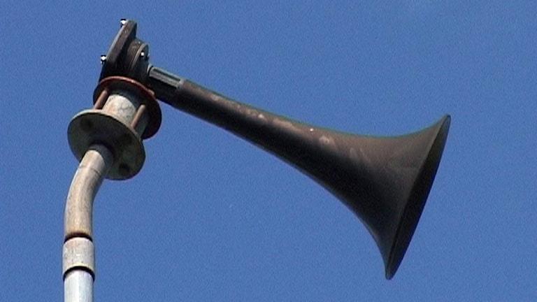 Tutan som kallas Hesa Fredrik och som används som larmsignal utomhus. Foto: Daniel Zdolsek/TT.