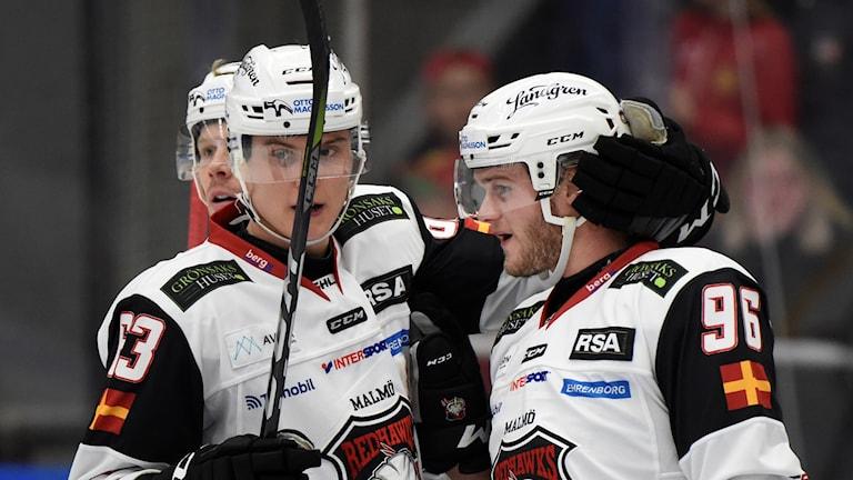 Malmö Redhawks spelare jublar