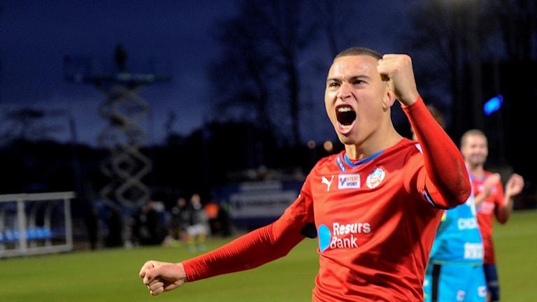 Jordan Larsson, tidigare fotbollsspelare i Helsingborgs IF, nu klar för IFK Norrköping. Foto: Björn Lindgren/TT.