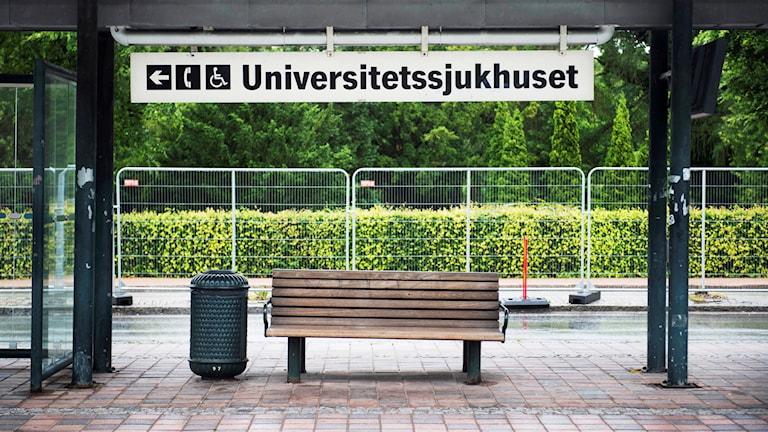 Busshållplatsen vid Skånes Universitetssjukhus i Lund. Foto: Emil Langvad/TT.