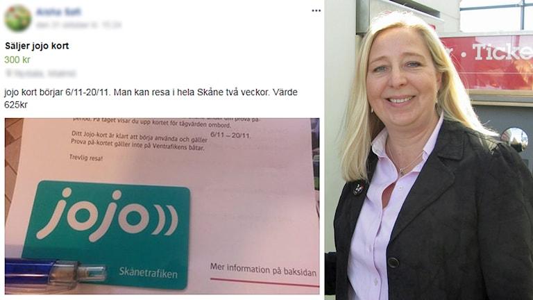 Skånetrafikens kampanjkort säljs vidare. Det är inte optimalt, säger Skånetrafikens försäljningschef, Camilla Bunke. Foto: Sveriges Radio