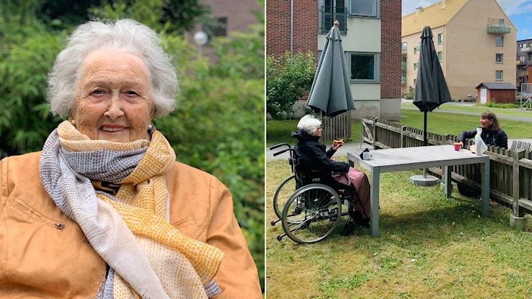 En äldre kvinna. Två personer som sitter på avstånd utanför ett äldreboende i Lund.
