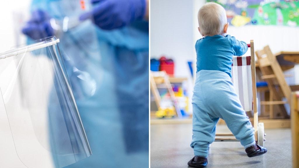 Skyddsutrustning och barn på förskola